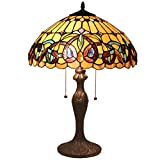 Bieye L11413 16 inch Victorian Tiffany Style Stained Glass Table Lamp with Zinc Base, 22 inch Tall