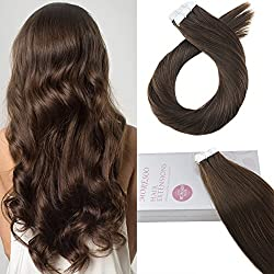 Moresoo 24 Inch Remy Human Hair Extensions Tape in Extensions Brown Color #4 Seamless Skin Weft Tape in Human Hair Extensions Soft and Silky Hair 50g 20 Pieces