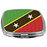 Rikki Knight Compact Mirror on Distressed Wood Design, Saint Kitts and Nevis Flag, 3 Ounce