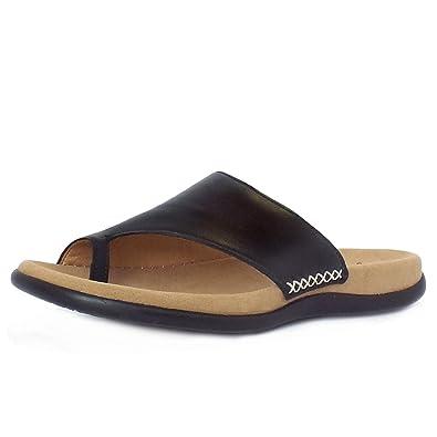 58615fa59768 Gabor Lanzarote Ladies Toe Loop Mule Sandal in Black 42 Black ...