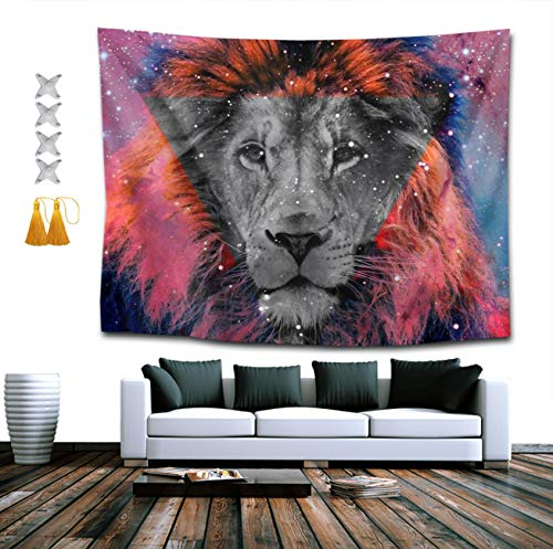 CIGOCI Wall Hanging Queen Tapestries + Tassel + Thumbtacks, Boho Hippie Hippy Bedding Tapestry, Indian Wall Decor, Galaxy Lion, Kids Girls Boys Room Hippie Tapestry ()