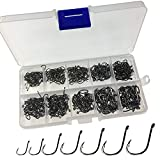 500Pcs Hooks Per Black Stainless Fishing Hooks Box Lot Fishhook Set