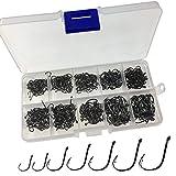 500Pcs Hooks Per Black Stainless Fishing Hooks Box Lot Fishhook Set