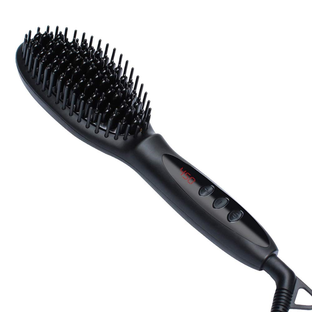NATUREYUAN Ionic Hair Straightener Brush Heating Hair Straightening Irons With LCD Display Hair Salon Hair Design Paddle brush Comb (Color : Black) by NATUREYUAN
