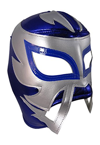 RAYMAN Adult Lucha Libre Wrestling Mask (pro-fit) Costume Wear - Blue/Grey by Mask Maniac