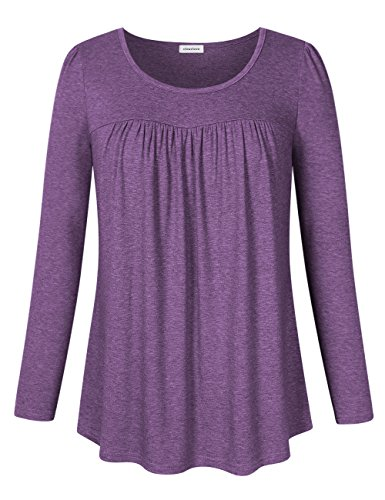 - Clearlove Women's Tops and Blouses Long Sleeve Scoop Neck Plus Size Pleated Tunic T Shirt Long Sleve Flowers Purple XXXX-Large