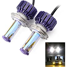 KOYA H4, 9003 CREE LED Headlight Bulbs Conversion Kit - 80W 8,000Lm Hi/Lo Beam Cool White w/ Amber Filter,Clear Driving Lamp Bulbs