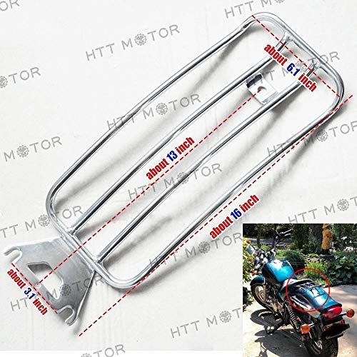 (HTTMT LR13- Chrome 11x7 Inches Solo seat Luggage Rack Compatible with Harley 1997-2015 Touring FLH/T 97-15)