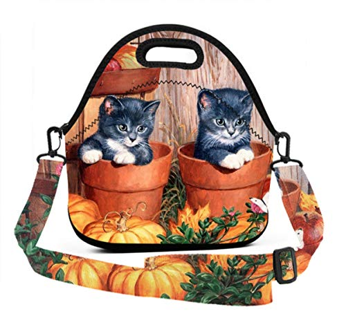 Lunch Box With Meal Prep Containers/Insulated Lunch Bag Beautiful Halloween Kittens Food Containers Lunch Box Bag For Meal Prep, Leak-Proof, Quick And Simple Organization -