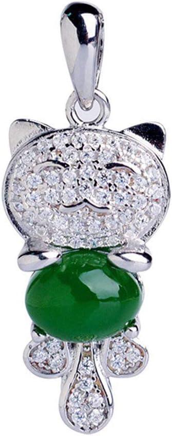Xingling Plata esterlina 925 para Mujer Chapado en Oro Rosa y Jade Jade Gato Colgante, Caja de Regalo de joyería,BLCE-01