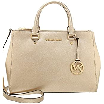 2ed72c90149c Amazon.com: Michael Kors Sutton Medium Satchel Pale Gold: Shoes
