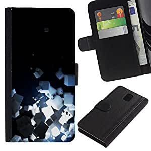KingStore / Leather Etui en cuir / Samsung Galaxy Note 3 III / Cubos de luz brillante Negro minimalistas