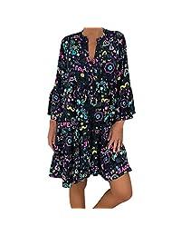 Clearence!! Women's 2019 Summer Casual V Neck Print T Shirt Short Mini Dress Long Sleeve Daily Must Go Dresses