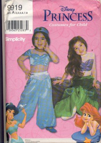 Jasmine Costume Pattern (Simplicity 9919 Sewing Pattern - MAKE Disney Princess Costumes for Girls - Jasmine and Ariel - Sizes 3, 4, 5, 6, 7, 8)