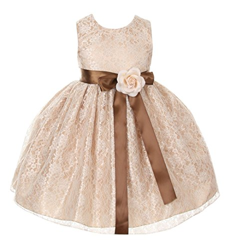 Satin Cinderella (Cinderella Couture Girls Elegant Champagne Lace Flower Girl Dress & Sash)