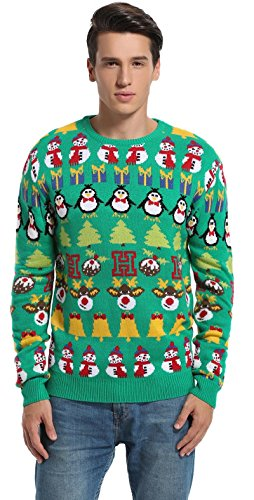 Daisyboutique Men's Christmas Decorations Stripes Sweater Cute Ugly Pullover (XXX Large, Striped Green) -