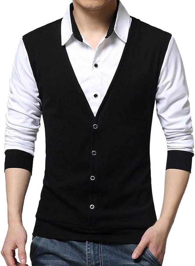 Mens Spring Workwear Tops Blouse Formal Work wear Shirt Office Workwear Tunic YOcheerful Mens Long Sleeve Shirt