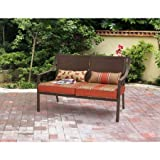 Mainstays* 500 lbs Capacity Alexandra Square Patio Love seat Bench in Orange Stripe