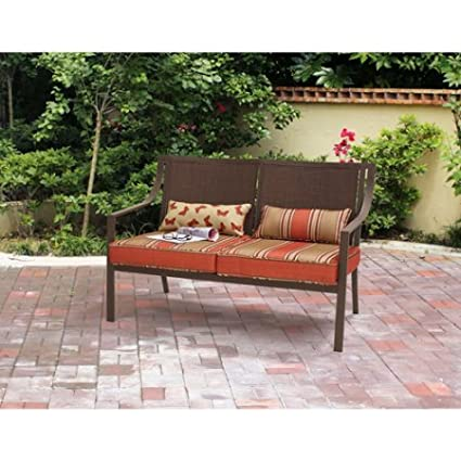 Square Patio Loveseat, Included Cushions And Pillows, Steel Frame, Orange  Striped, Ideal