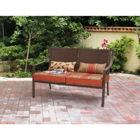 Mainstays* 500 lbs Capacity Alexandra Square Patio Love seat Bench in Orange Stripe ()