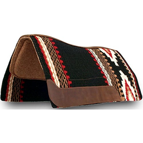 Impact Gel Western Saddle Pad - Impact Gel Cowtown w/Fleece Pad Black/Red