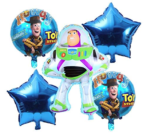 Toy Story Birthday Party Balloons - 6 Piece Kids Balloon Decorations - Buzz Lightyear Woody 2 Round 2 Stars - Ribbon Included Combined Brands Bundle by Jolly Jon ® ()