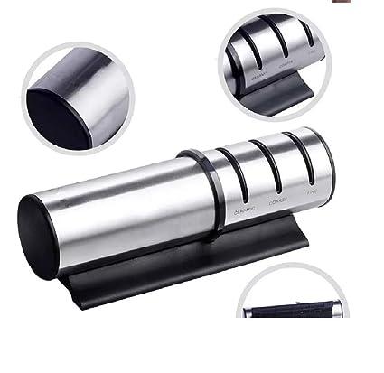 LAMARTINE Afilador de cuchillos profesional manual. 3 etapas con ranuras de diamante, tungsteno y ceramica, Fabricado en acero inoxidable. Base ...