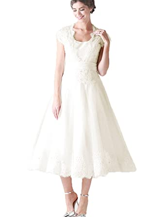 QiJunGe Modest Square Neckline Vintage Wedding Dresses Retro Lace ...
