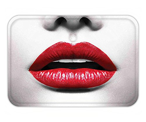 Minicoso Doormat Red and Black Cosmetic Lipstick in Vivid Alluring Color Photo of Model Lips Photo White and Light - Picture Indigo Colour