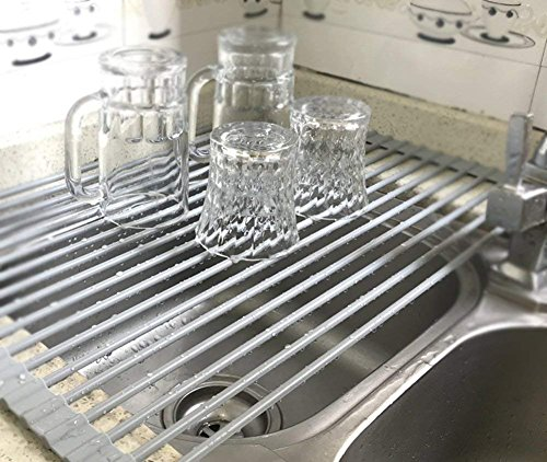 MOHICO Dish Rack Roll-up Dish Drying Rack Stainless Steel Over the Sink Countertop Kitchen Rack Drainer Multipurpose Heat Resistant with Anti Slip Silicone Cover-Large 20 1/2(L) x 13