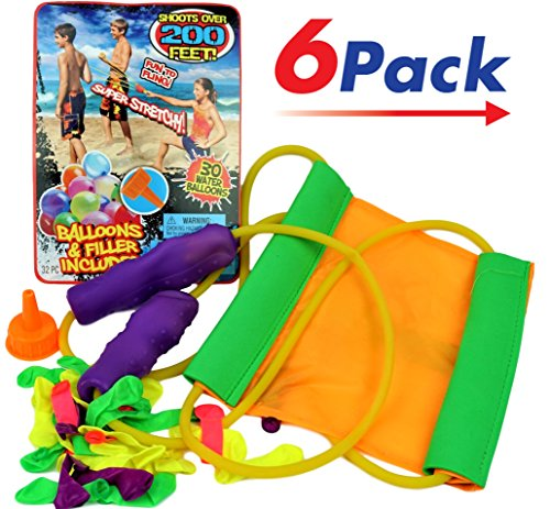 Huge Sling Water Balloon Launcher + 30 Balloons (Pack of 6) By JA-RU | Filler Included. Super Stretch | Item # 718-6 by JaRu