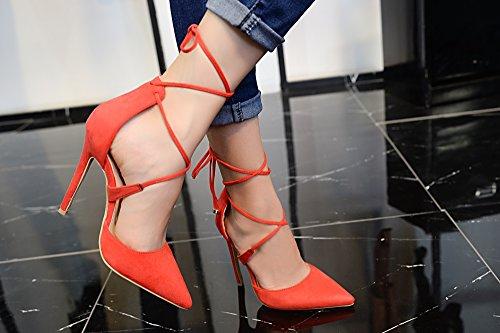 Mila Dame Ether20 Dorsay Lace Up Enkelband Elegantie Platform Lady Hakken! Rood