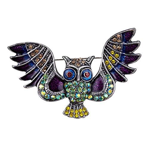 (Connie Cloris Crystal Artificial Pearls Rhinestones Bird Owl Animal Brooch Pin (F-Silver-Owl))