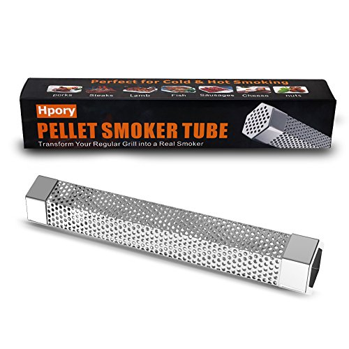 Hpory Pellet Smoker Tube 12'' Stainless Steel for Any Grill or Smoker, Cold/Hot Smoking, Hexagonal BBQ Smoke Generator by Hpory