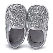 Suma-ma Toddler Newborn Girls Crib Shoes Soft Sole Anti-slip Sneakers Sequins Single Shoes (11cm (0-6 months), Silver)