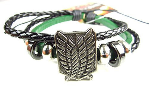 - Attack On Titan- Faux Leather Bracelet Fits Most - Survey Corps Green by Anime N Games