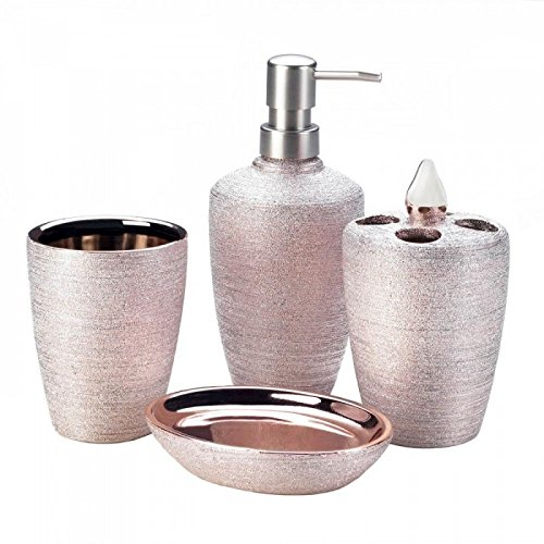 Bath Ensemble, 4 Piece Bathroom Accessories Set, Bath Gift Set Features Soap Dispenser, Toothbrush Holder, Tumbler, & Soap Dish (Rose)