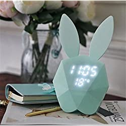 W-ONLY YOU-J Night Light Creative Greed Sleep Microphone Rabbit Alarm Clock Music Voice-Activated Clock Child-Specific Led Charge Bedside Lamp Gift , blue