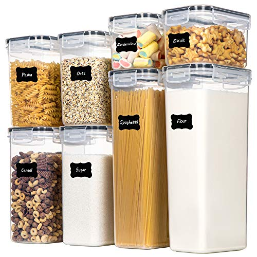 Airtight Food Storage Containers with Lids, Chefstory 8 PCS Plastic Storage Containers for Kitchen & Pantry Organization…