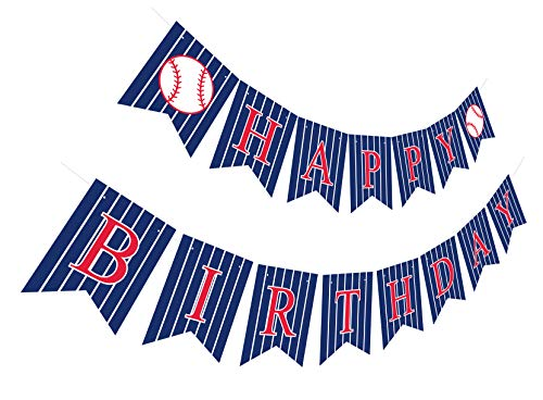 (Baseball Happy Birthday Banner | Pre-Strung Bday Sign Party Decoration)