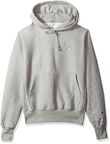 Champion LIFE Men's Reverse Weave Pullover Hoodie, Oxford Gray/Left Chest C Logo, Medium (Reverse Crewneck Weave Sweatshirt)