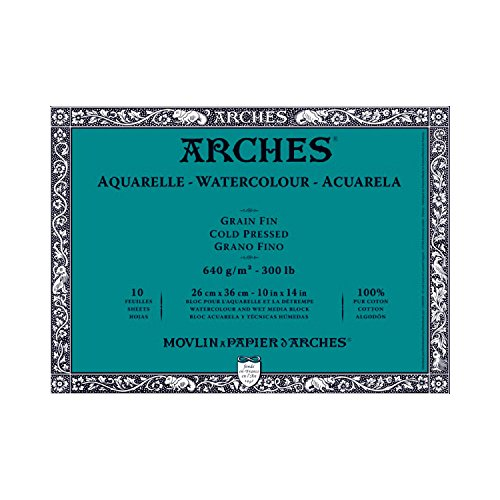 Canson Arches Block 300 Pound Cold Press (10 Sheets) 10 x 14 ()