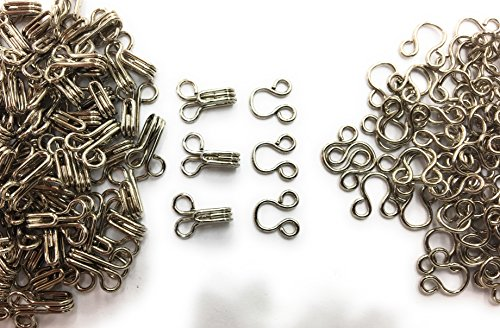 (100 Sets HOOKS AND EYE Fasteners Nickle / Silver #2 -)