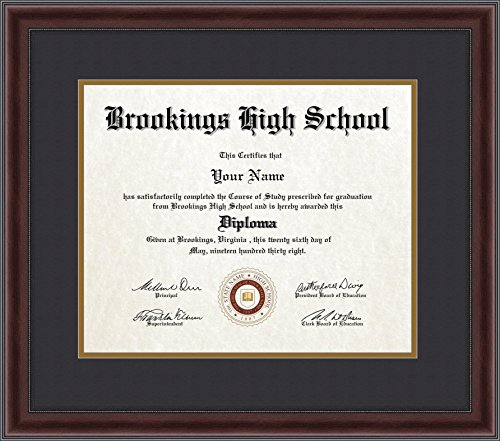 (ArtToFrames 14x17 Diploma Frame, Framed in Mahogany and Burgundy with Beaded Lip, Double-Multimat-3977-89/596-N9590 )