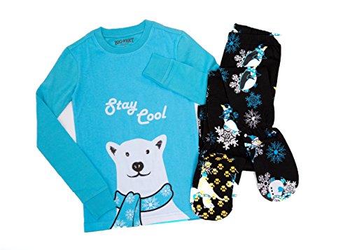 Big Feet PJs 2 Piece Blue Footed Pajamas Stay Cool Polar Bear Winter Theme
