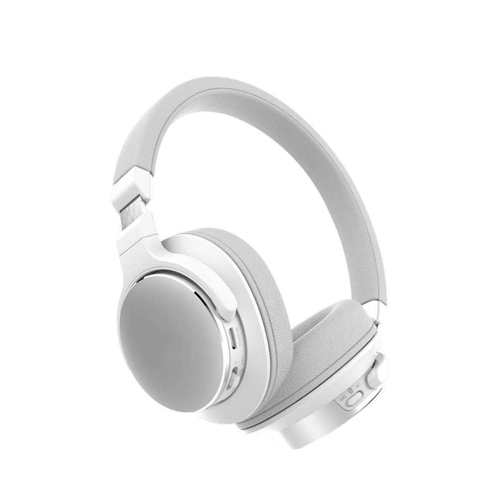 NOCTIC Over Ear Bluetooth Headphones Wireless Headphones, Foldable Built in Microphone Noise Cancelling Soft Earpads, Support for Travel TV-White