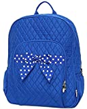 Quilted Solid Color Large School Backback (Royal)
