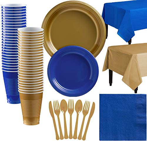 Party City Gold and Royal Blue Plastic Tableware Kit for 50 Guests, 537 Pieces, Includes Plates, Napkins, and Utensils -