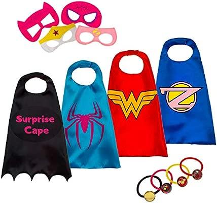 Disfraz De Superhéroes para Niño - Regalos De Cumpleaños para Niña - 4 Capas Y Máscaras - Juguetes para Niños Y Niñas - Logo Brillante De Wonder Woman