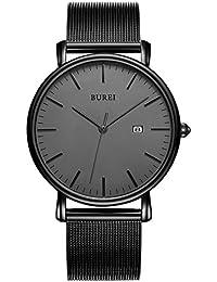 Men's Fashion Minimalist Wrist Watch Analog Deep Gray Date with Black Milanese Mesh Band